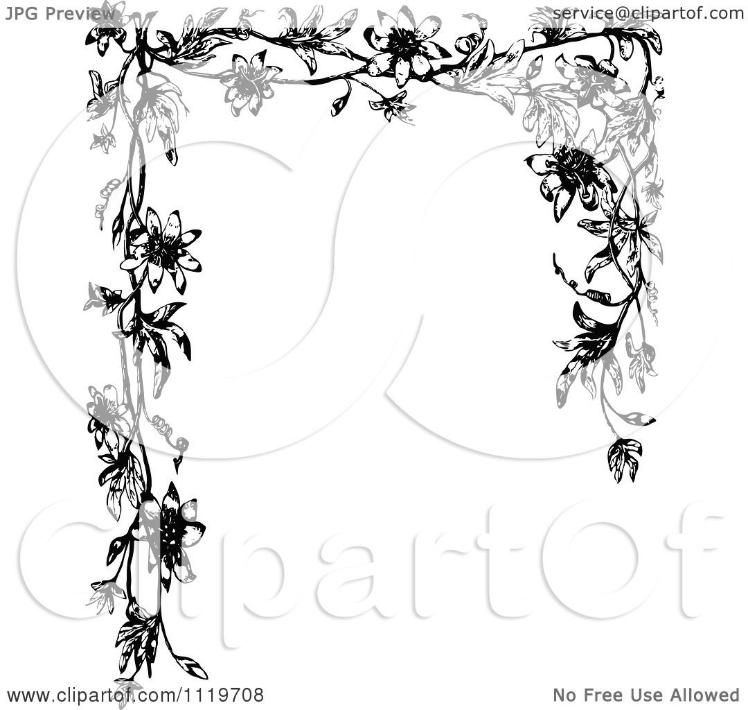 Clipart Of A Retro Vintage Black And White Passion Flower Frame