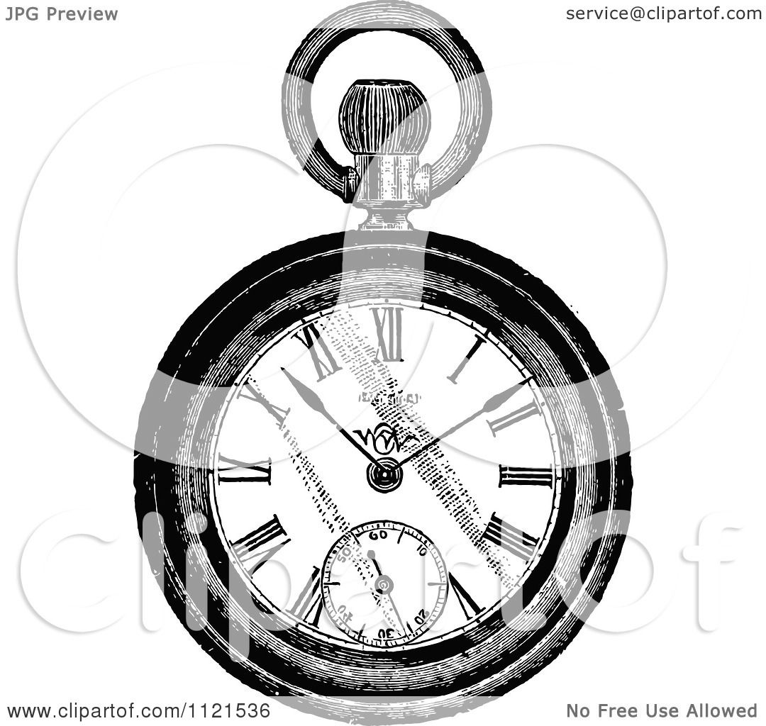 Clipart Of A Retro Vintage Black And White Pocket Watch