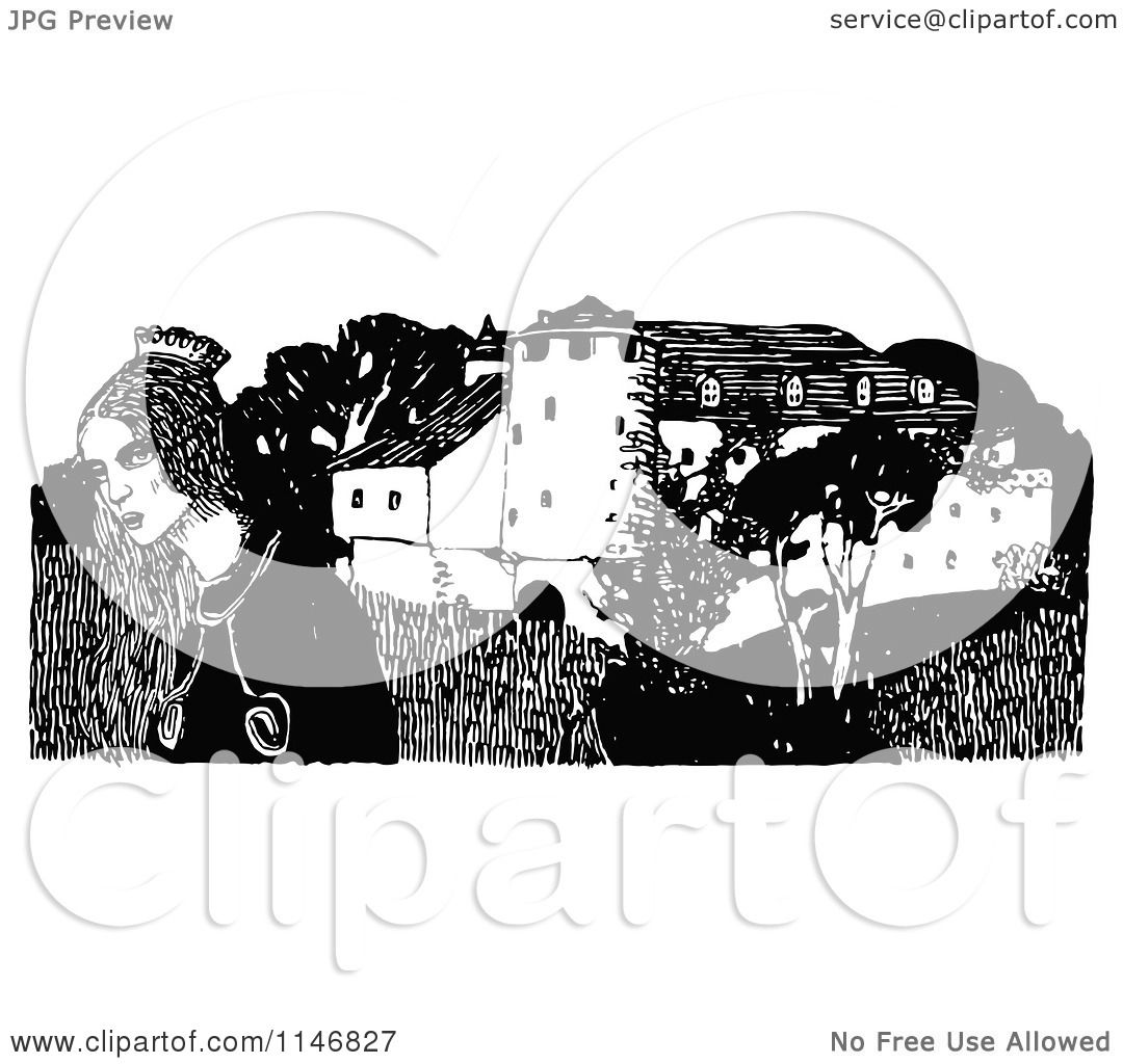 Princess Castle Clipart Black And White Black And White Princess