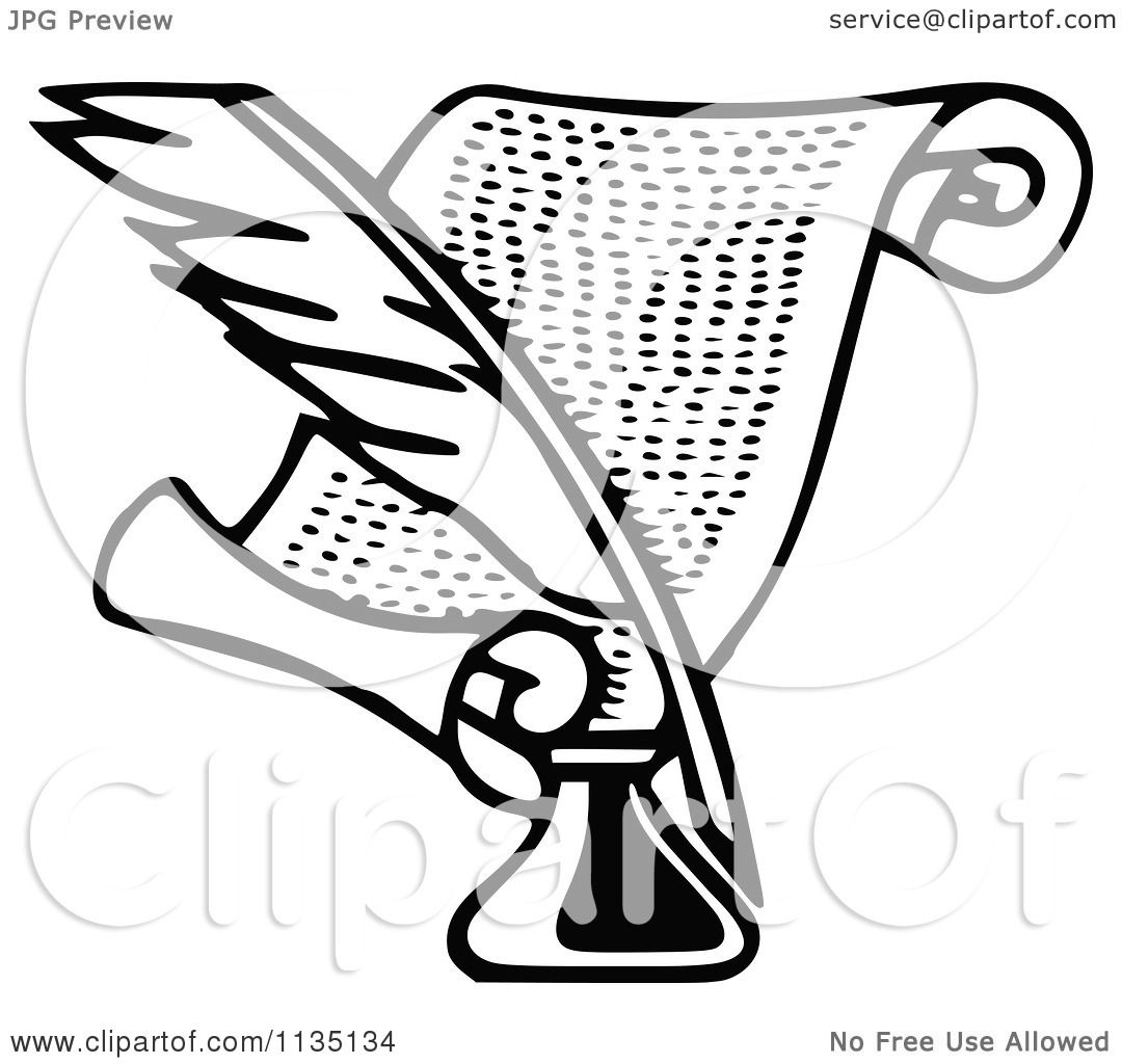 clipart of a retro vintage black and white quill ink and