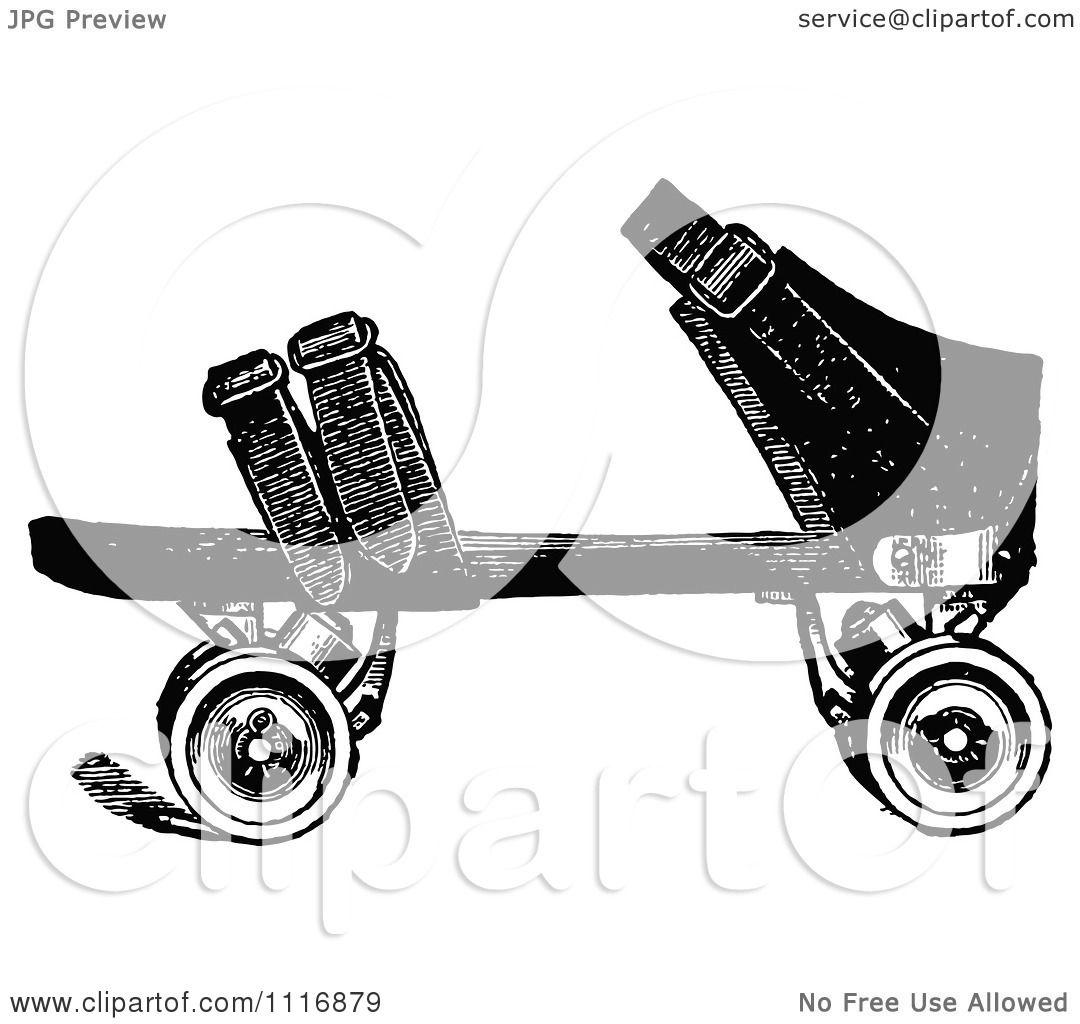 clipart of a retro vintage black and white roller skate 2 royalty free vector illustration by. Black Bedroom Furniture Sets. Home Design Ideas