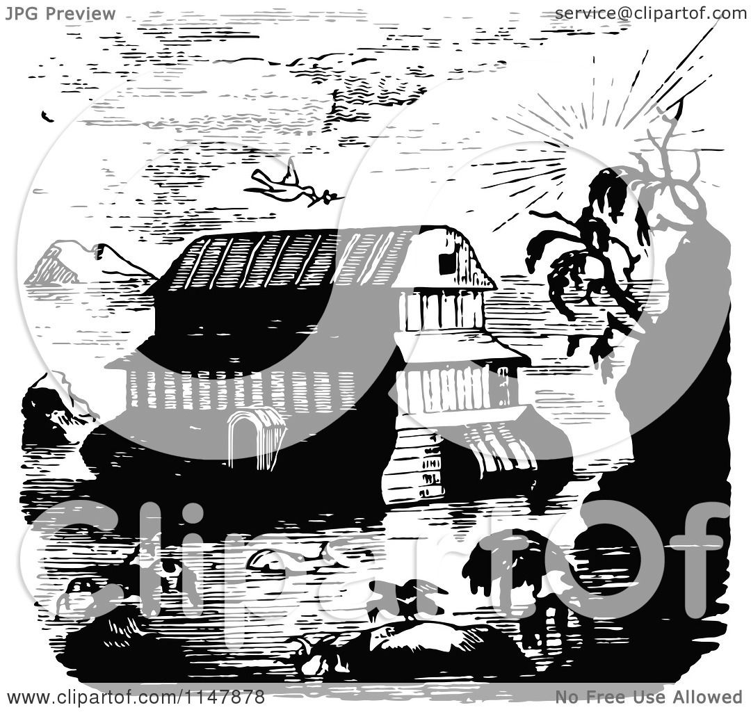 Clipart Of A Retro Vintage Black And White Scene Of Noahs