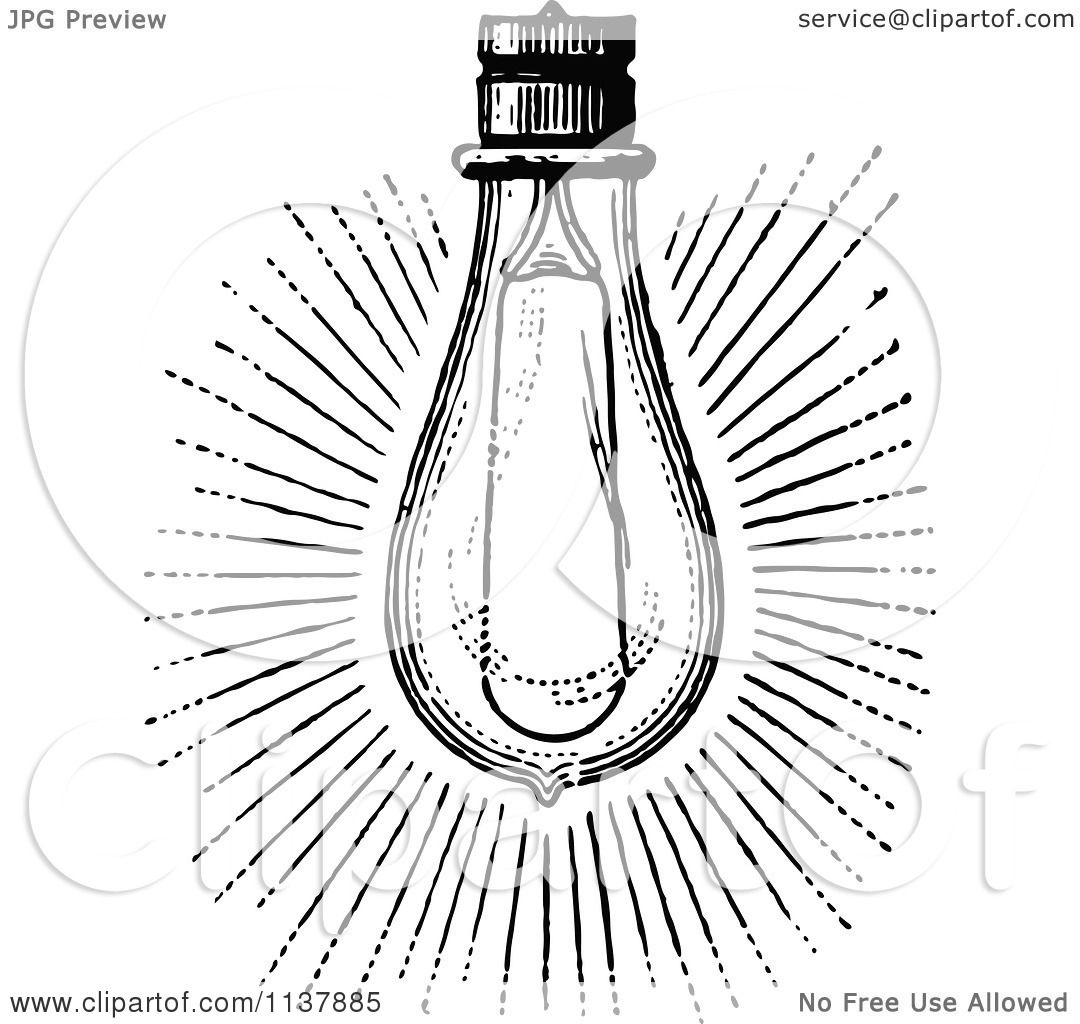 Classic Retro Illustration: Clipart Of A Retro Vintage Black And White Shining Light