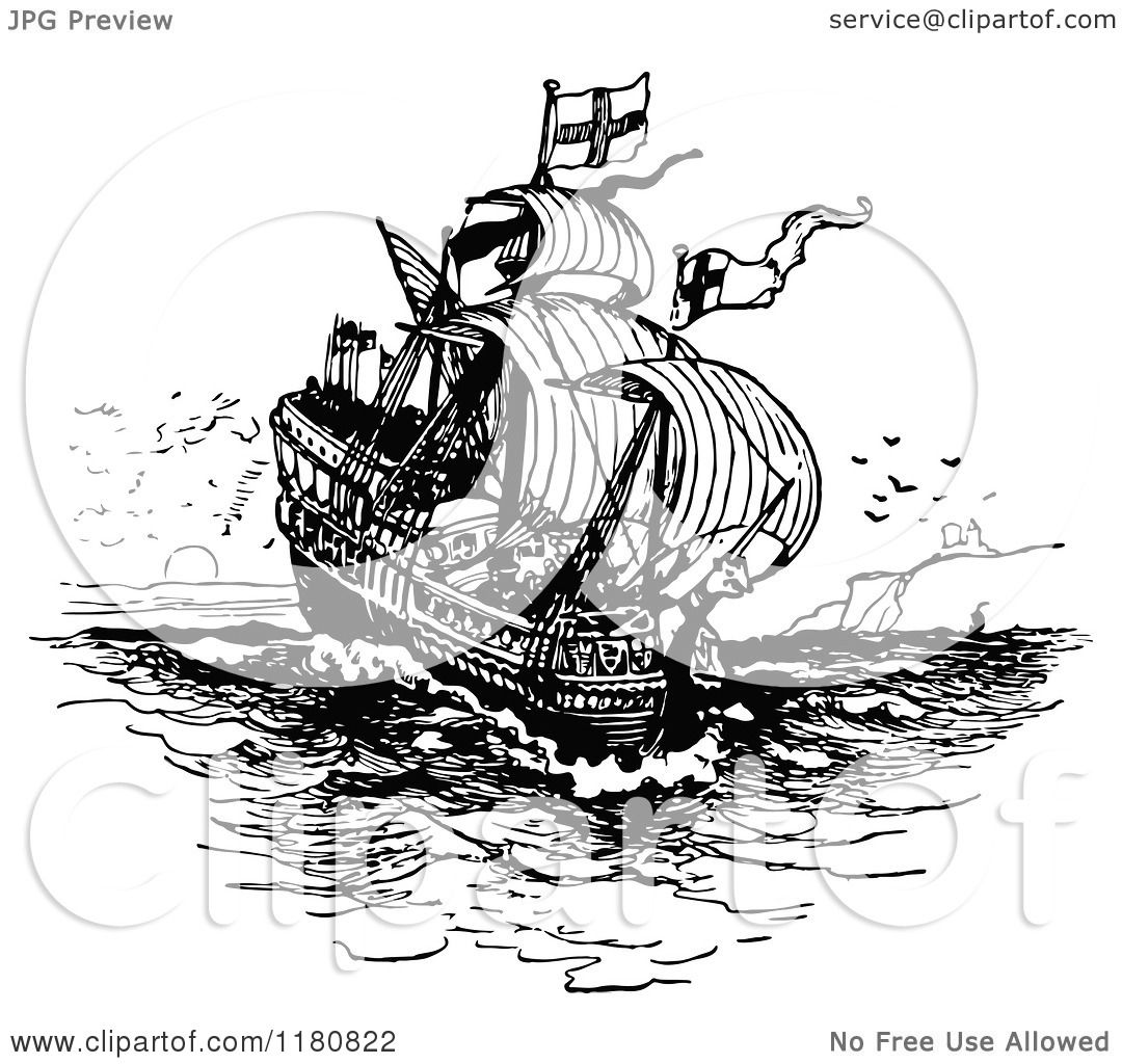 Clipart of a Retro Vintage Black and White Ship - Royalty ...
