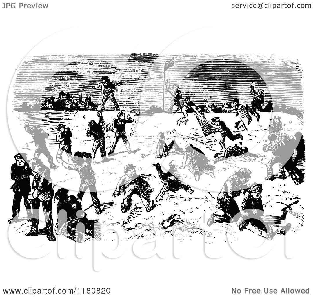 Clipart Of A Retro Vintage Black And White Snowball Fight