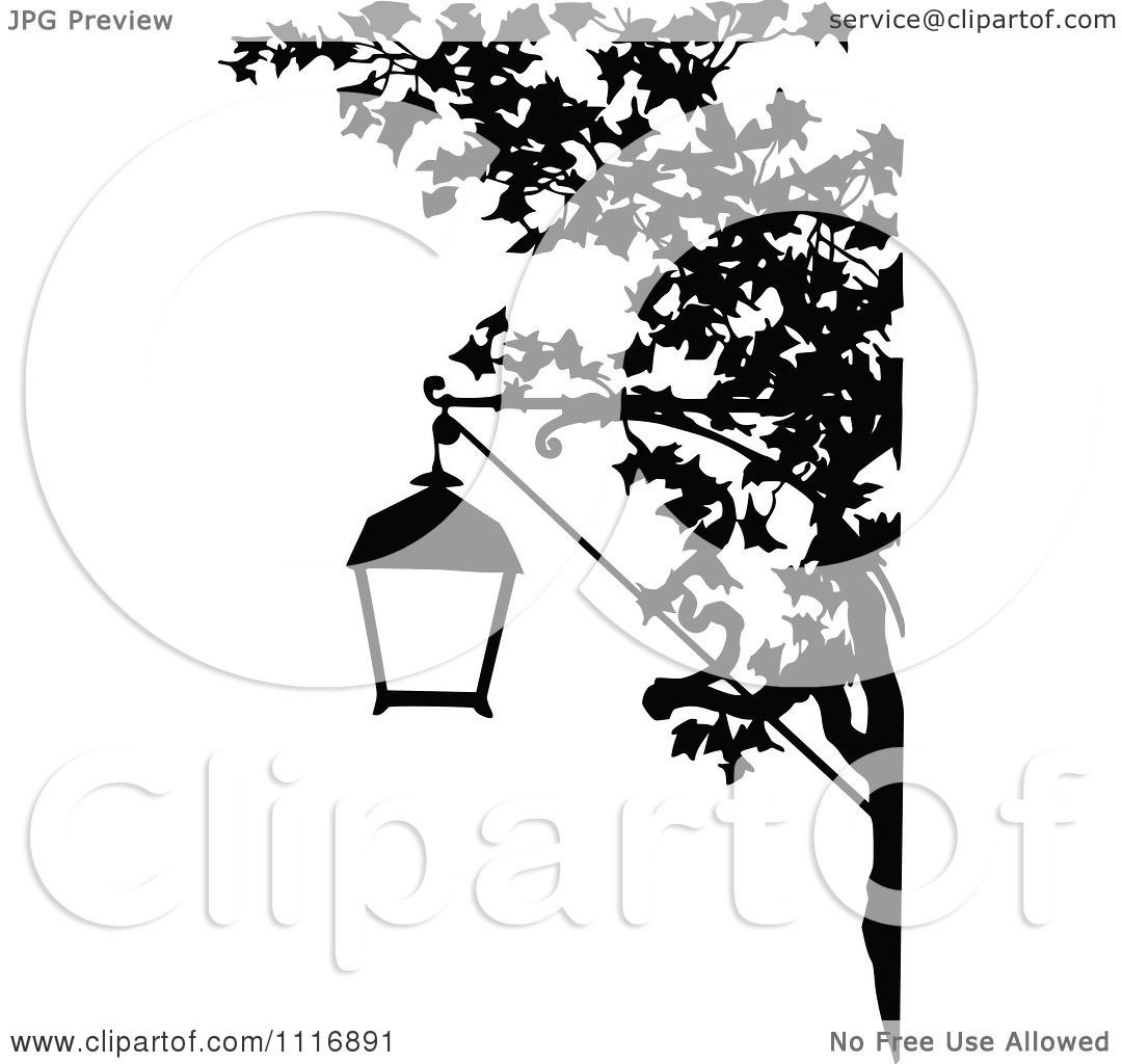 Black Ceiling Lamp Royalty Free Vector Image: Clipart Of A Retro Vintage Black And White Street Lamp And