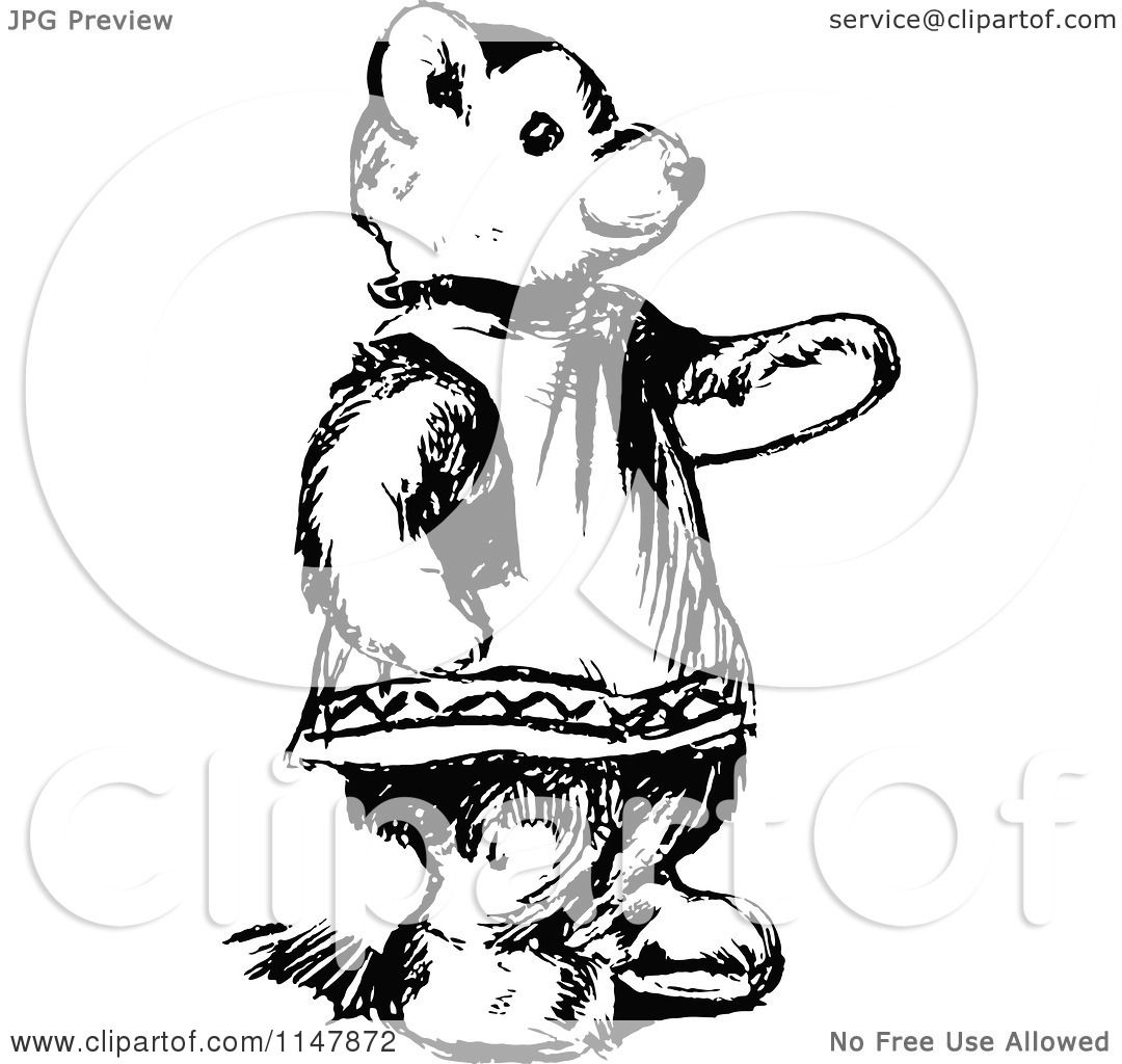 Clipart of a Retro Vintage Black and White Teddy Bear Pointing - Royalty Free Vector ...