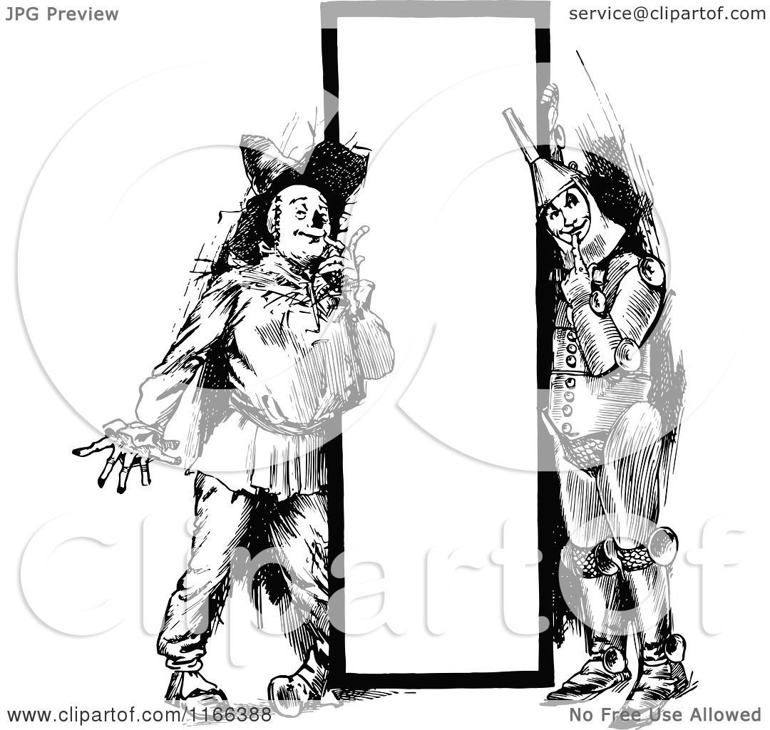 Clipart Of A Retro Vintage Black And White Tin Man And