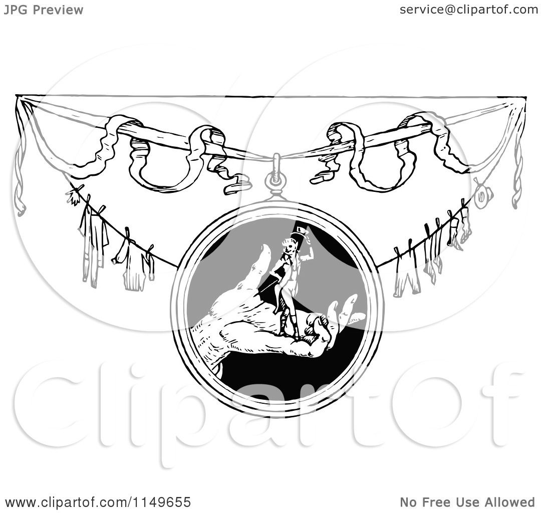 Laundry Frame Clipart Of A Retro Vintage Black And White Tom Thumb And Laundry