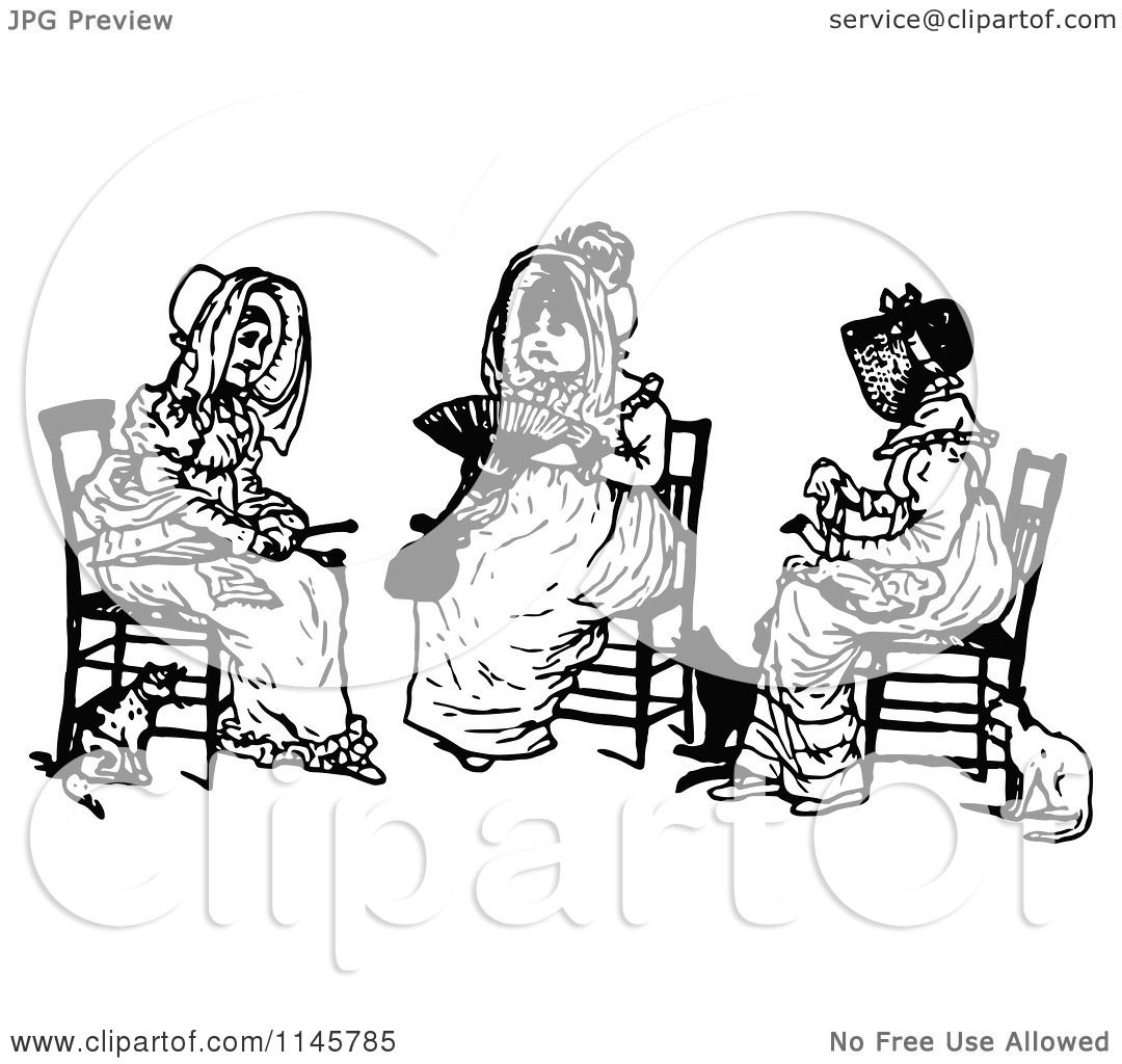 Clipart of a Retro Vintage Black and White Trio of Old Women Sitting -  Royalty Free