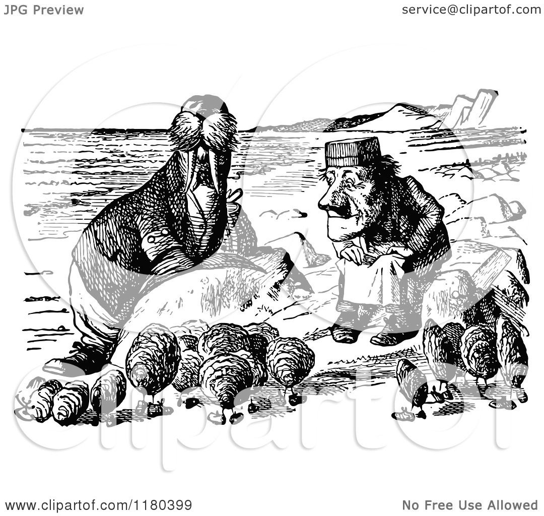 Classic Retro Illustration: Clipart Of A Retro Vintage Black And White Walrus Oysters