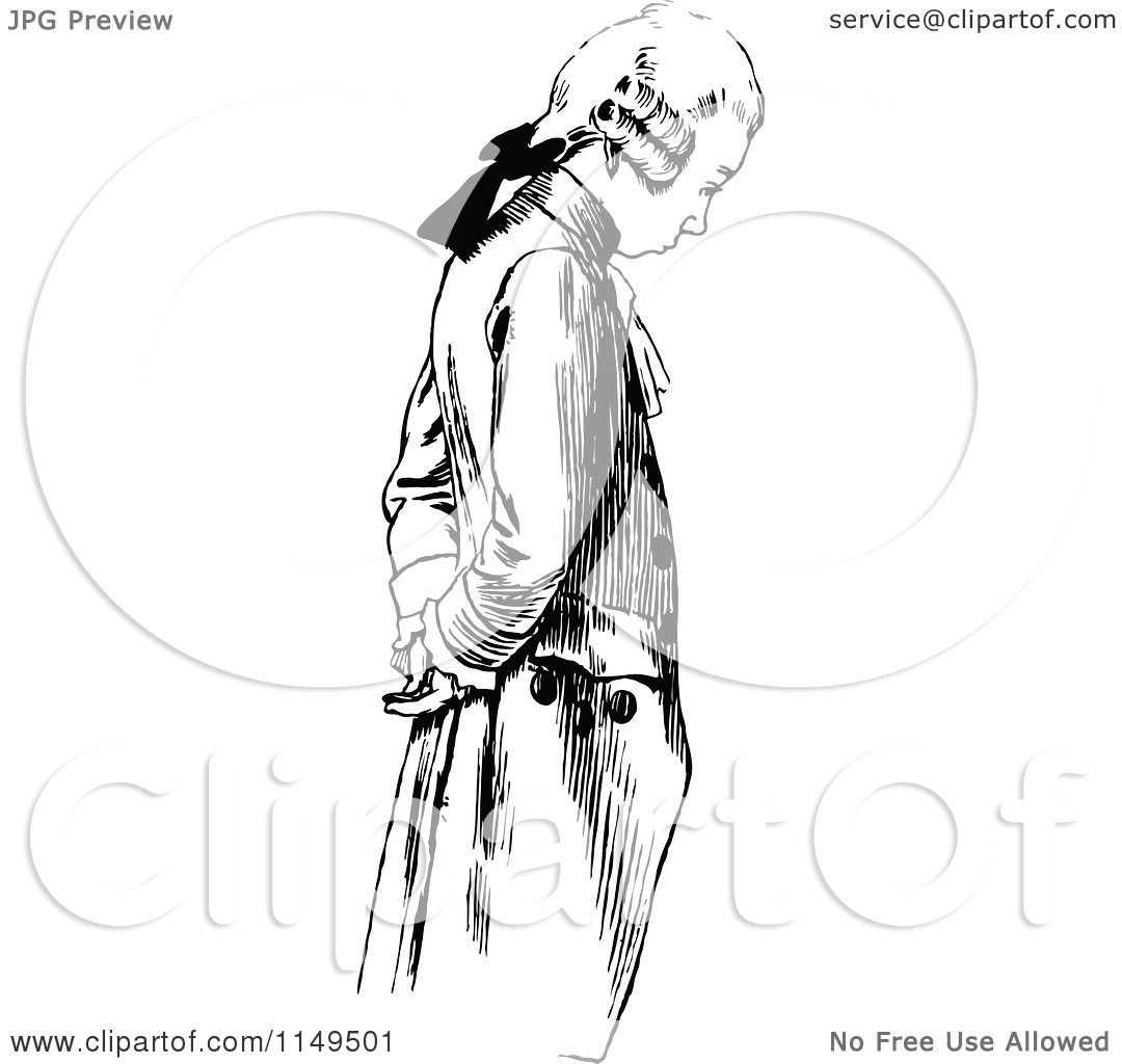 Clipart of a Retro Vintage Black and White Wig Man Looking ...