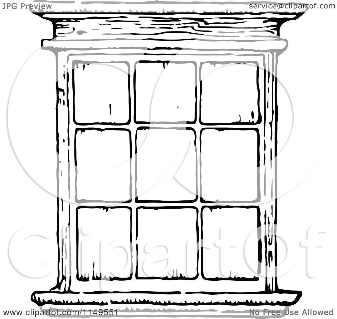 Clipart of a Retro Vintage Black and White Window - Royalty Free ... for Window Clipart Black And White  177nar