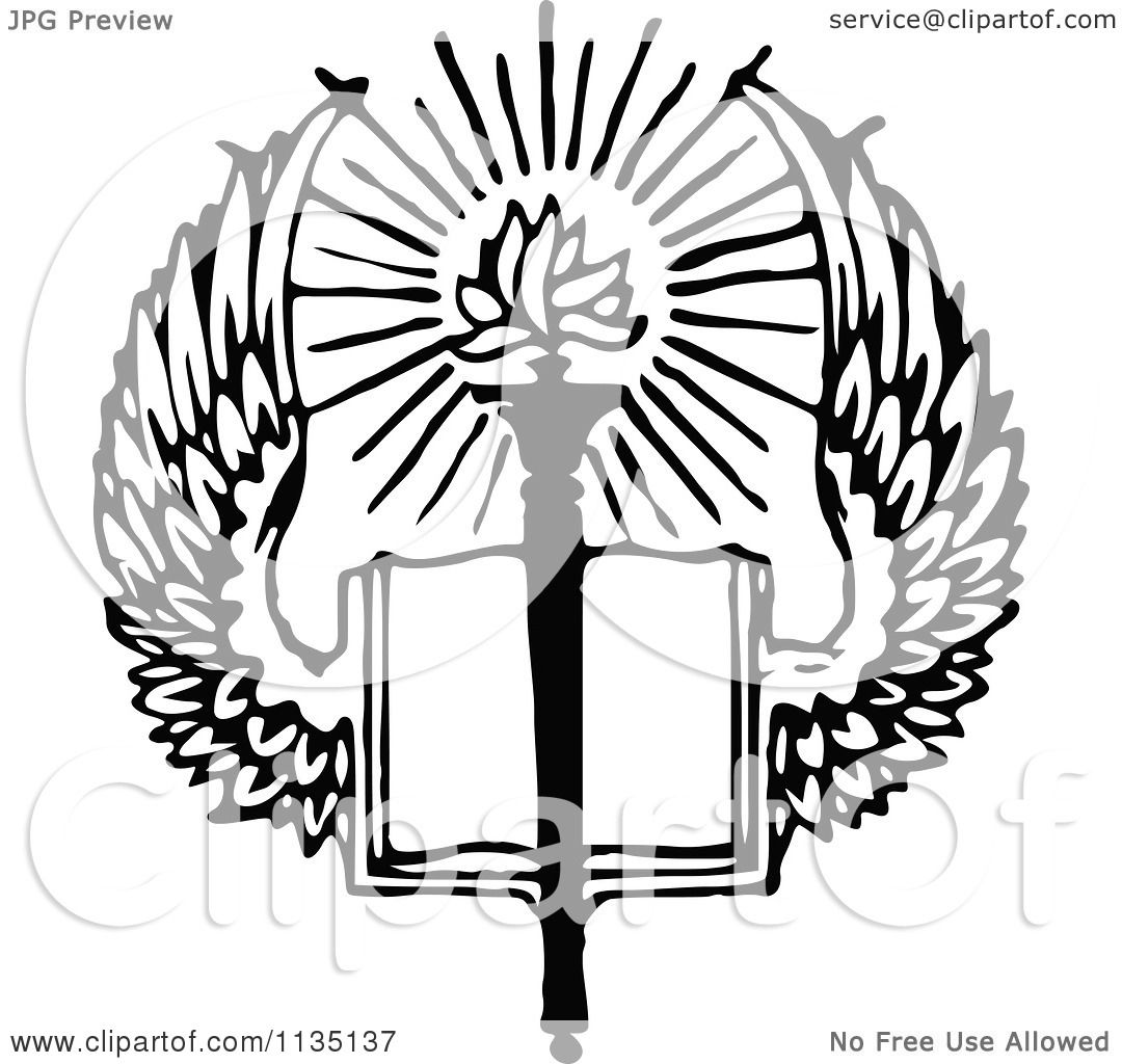 clipart of a retro vintage black and white winged open