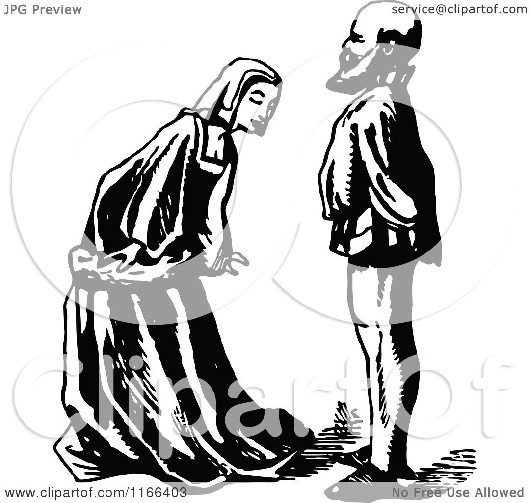 Clipart Of A Retro Vintage Black And White Woman Bowing To