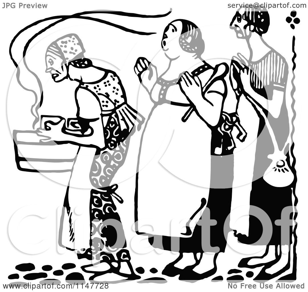 Retro Kitchen Illustration: Clipart Of A Retro Vintage Black And White Woman Carrying