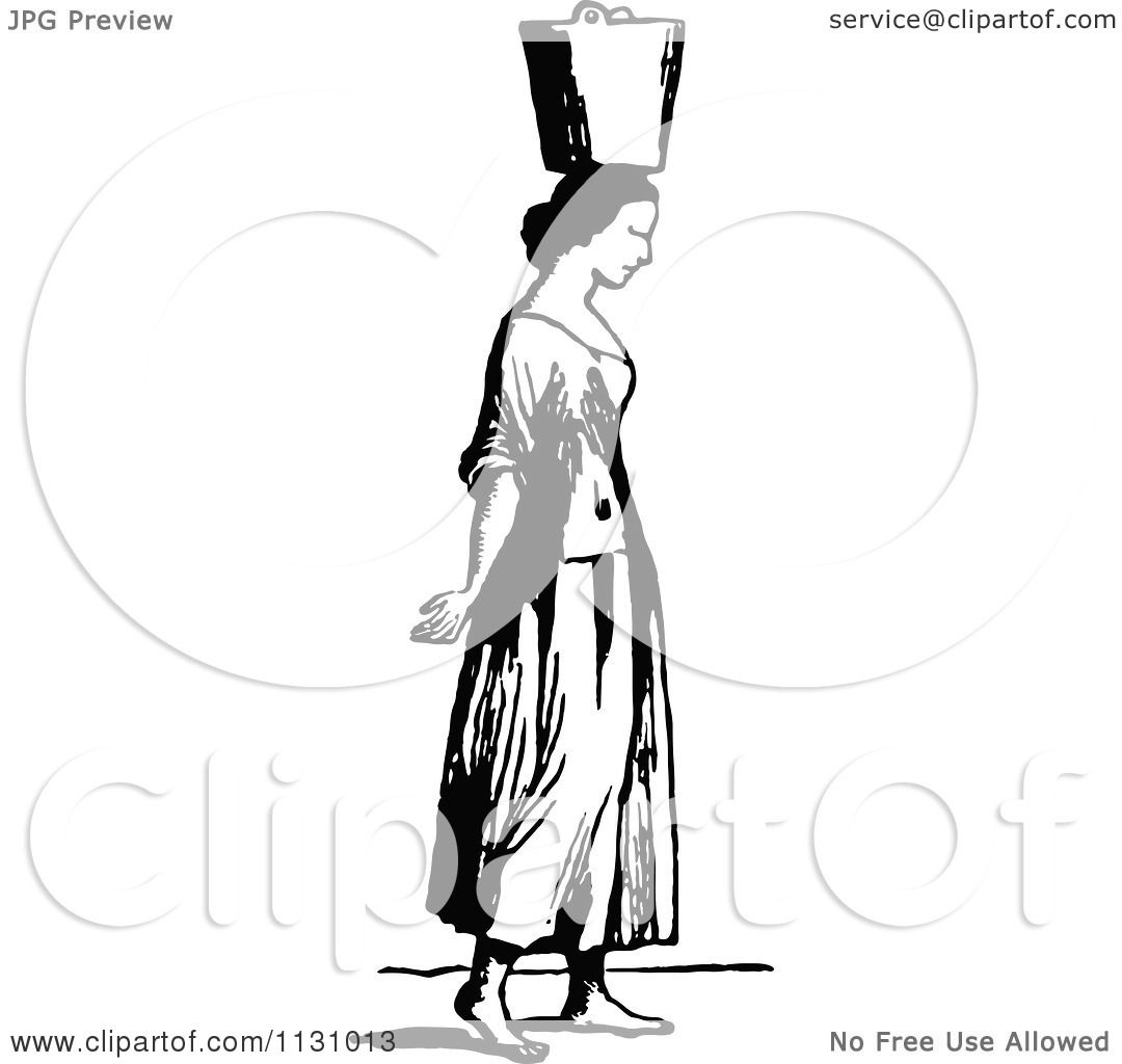 Clipart Of A Retro Vintage Black And White Woman Carrying