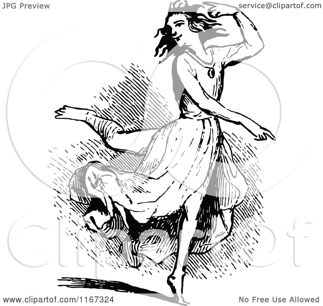 Clipart of a Retro Vintage Black and White Woman Dancing ...