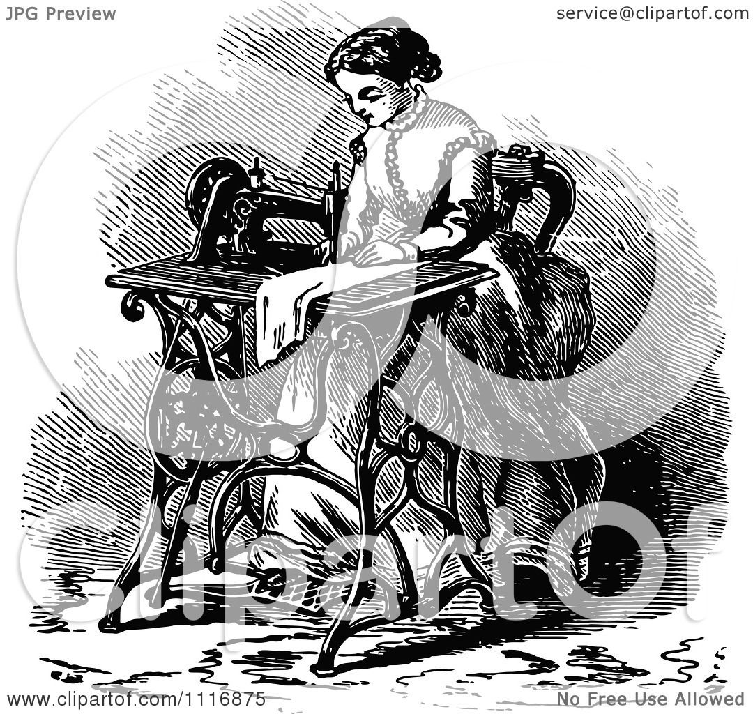 Clipart Of A Retro Vintage Black And White Woman Using A