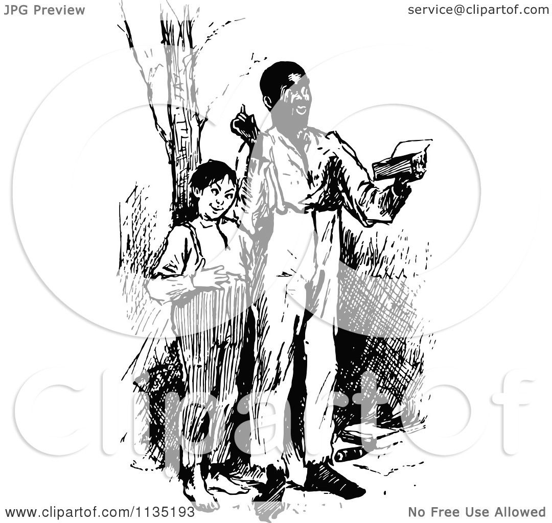 Clipart Of A Retro Vintage Black Man Reading With A Boy ...