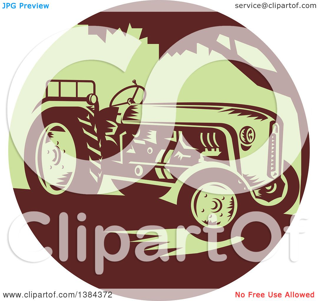 Clipart of a Retro Vintage Farm Tractor in a Brown and ...