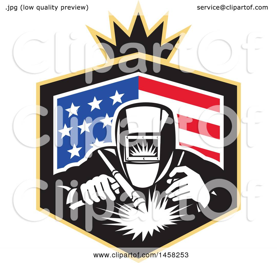Clipart Of A Retro Welder Worker In An American Flag