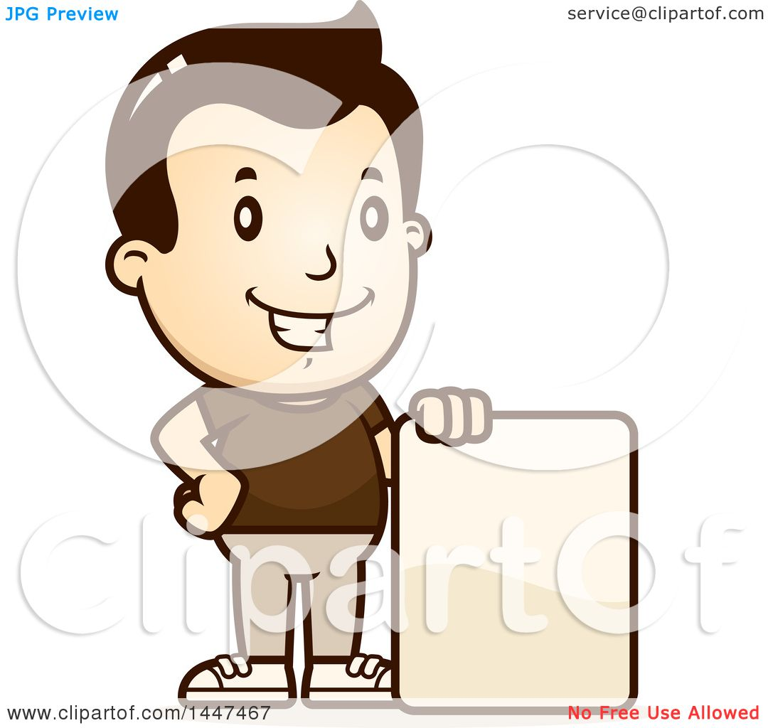 Clipart of a Retro White Boy with a Blank Sign - Royalty ...