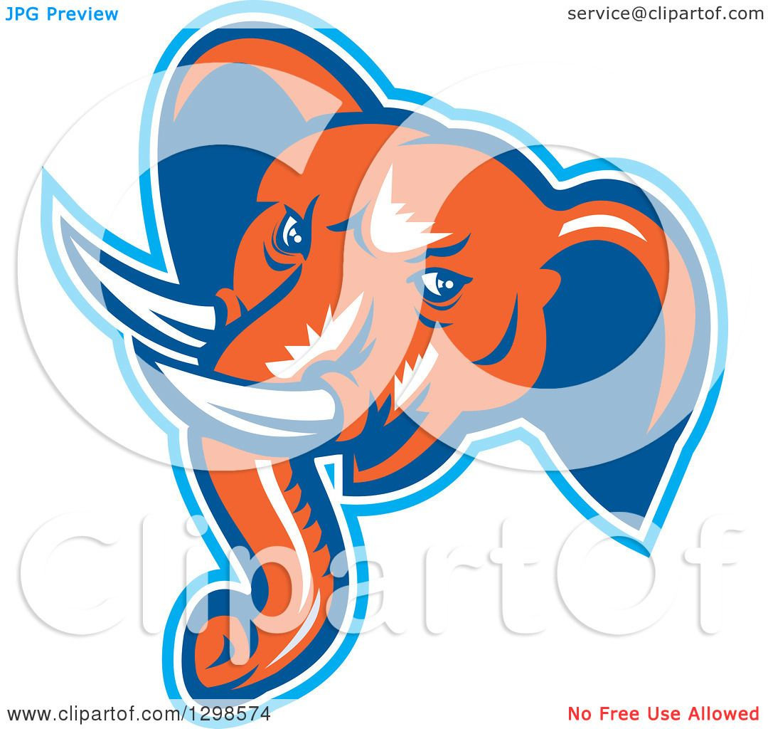 Clipart of a Retro Woodcut Angry Elephant Head in Blue ...