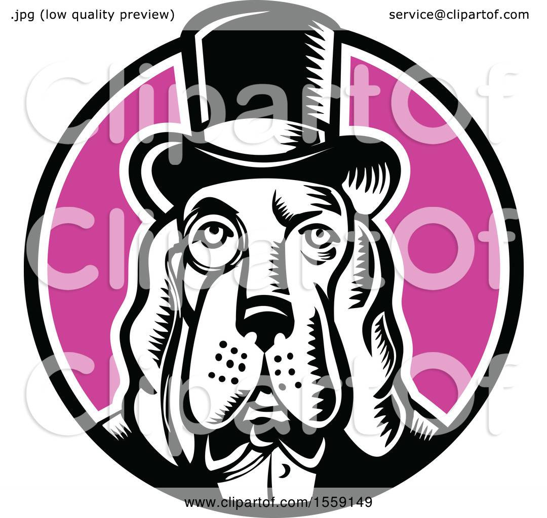 Clipart of a Retro Woodcut Basset Hound Dog Mascot Wearing a Monacle ...