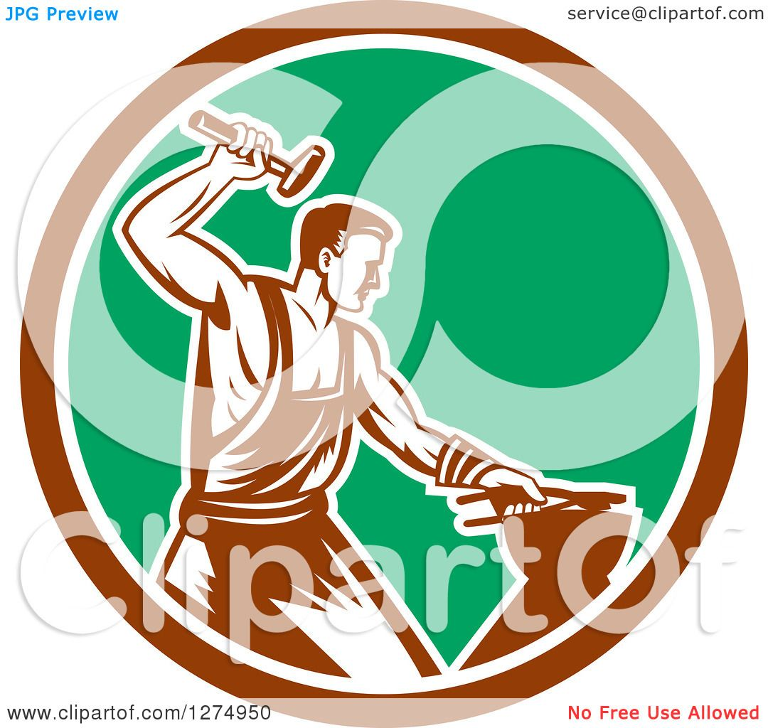Clipart of a Retro Woodcut Blacksmith Hammering in a Brown White ...