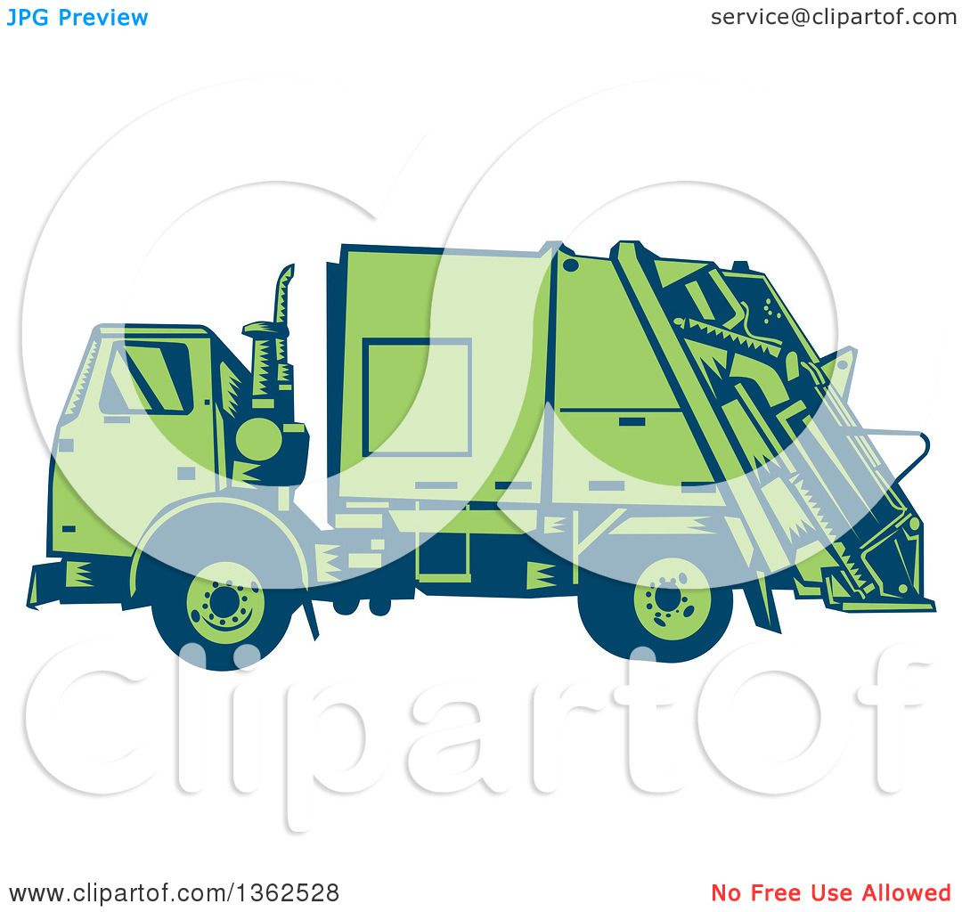 Clipart Of A Retro Woodcut Blue And Green Garbage Truck