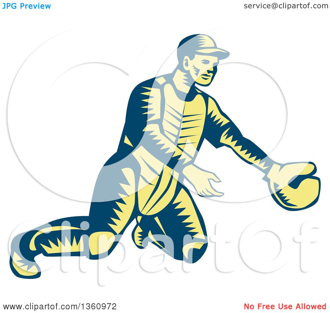 Clipart of a Retro Woodcut Blue and Yellow Baseball ...