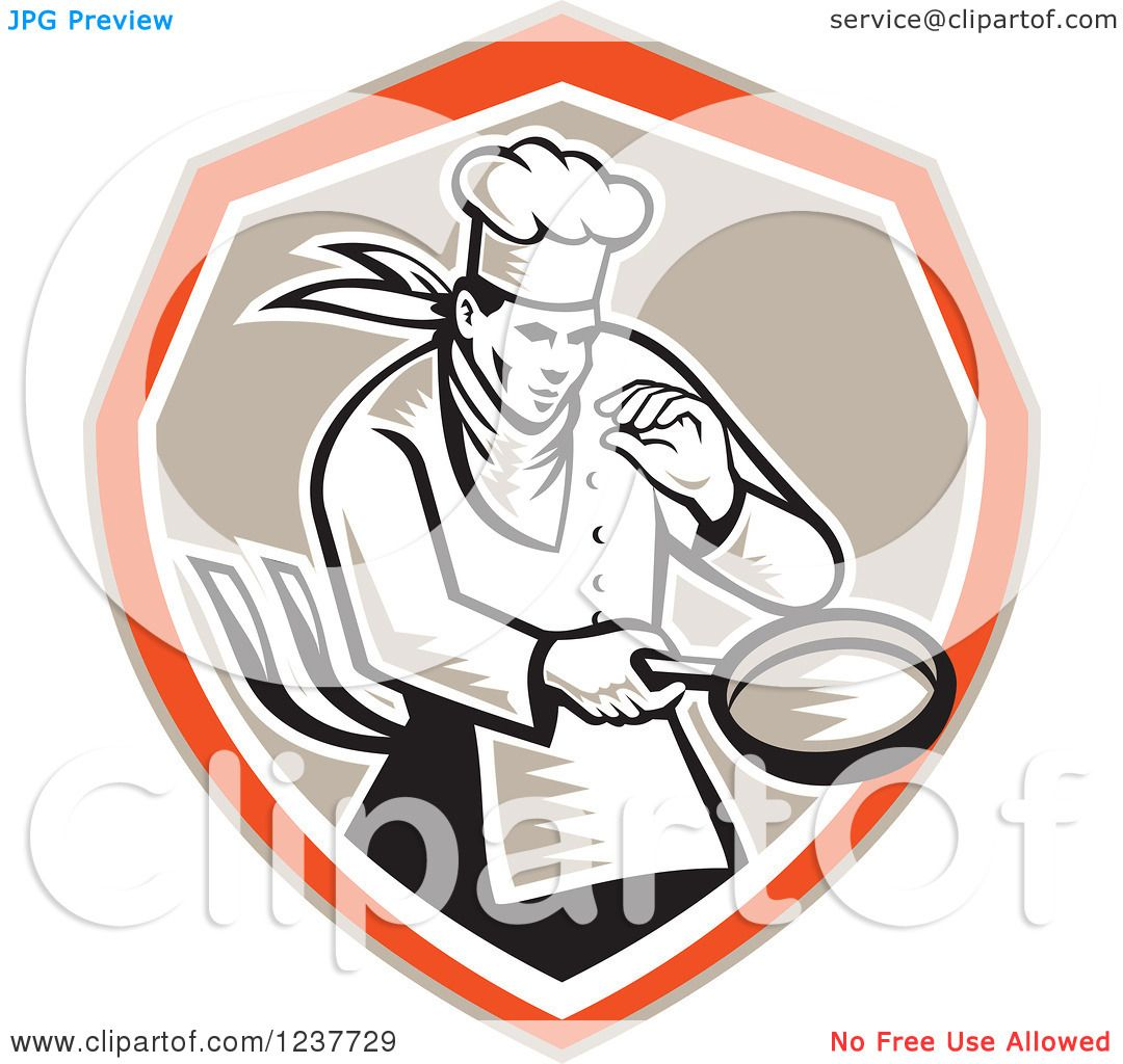 Fish In Frying Pan Clipart Clipart of a retro woodcut chef holding a ...