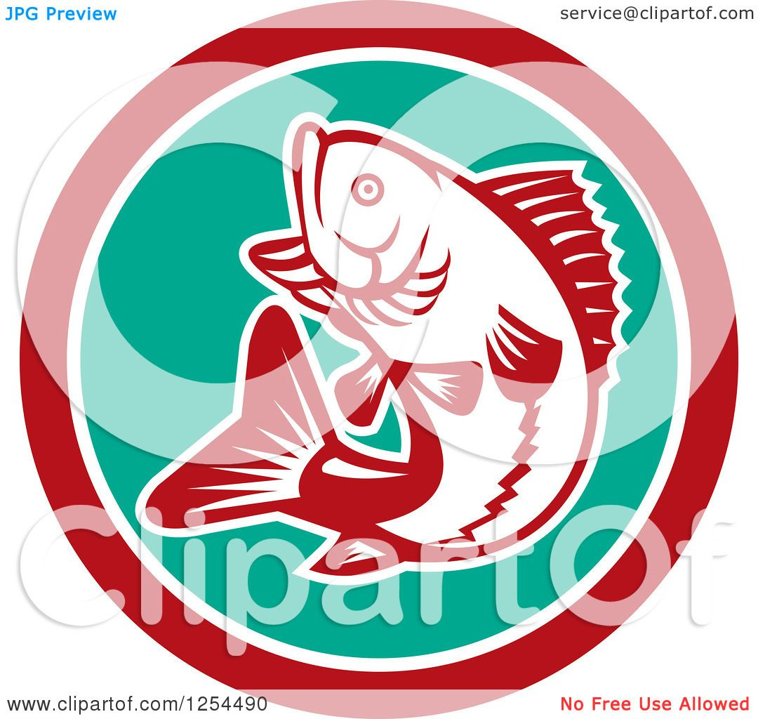 Clipart of a Retro Woodcut Largemouth Bass Fish Jumping in a ...
