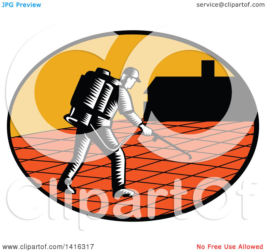 Clipart of a Retro Woodcut Paver Sealer Contractor Worker ...