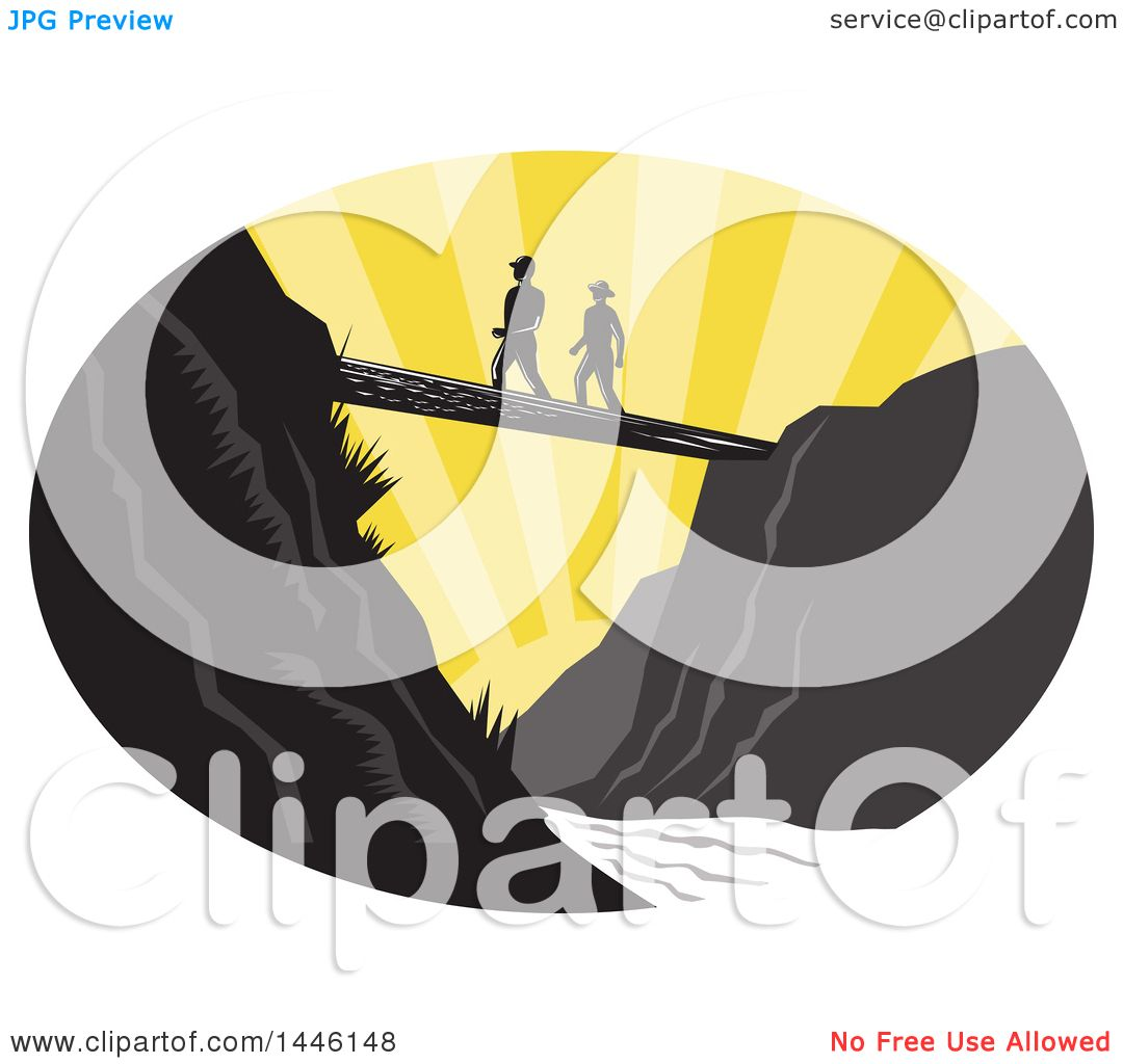 Clipart Of A Retro Woodcut Scene Of Hikers Crossing A