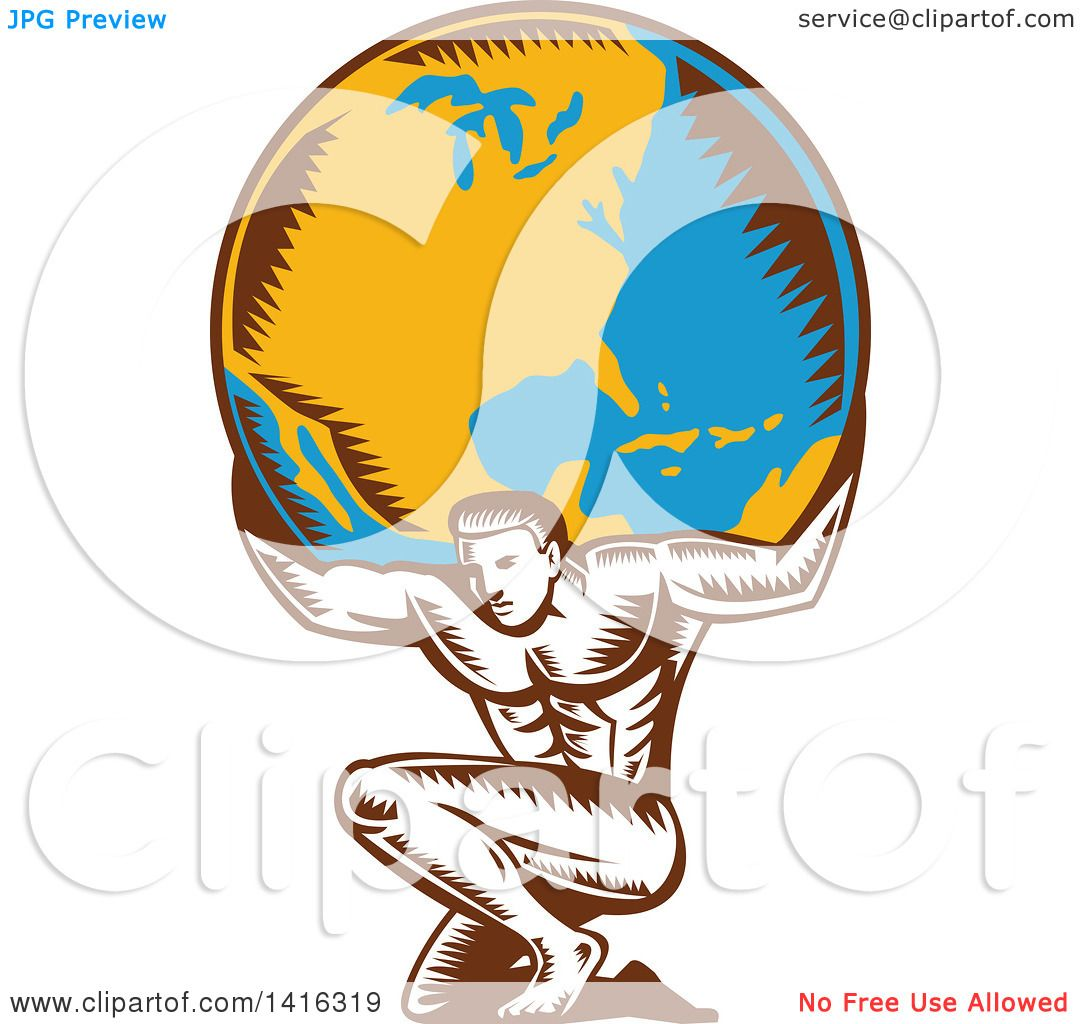 Clipart Of A Retro Woodcut Strong Man Atlas Kneeling And
