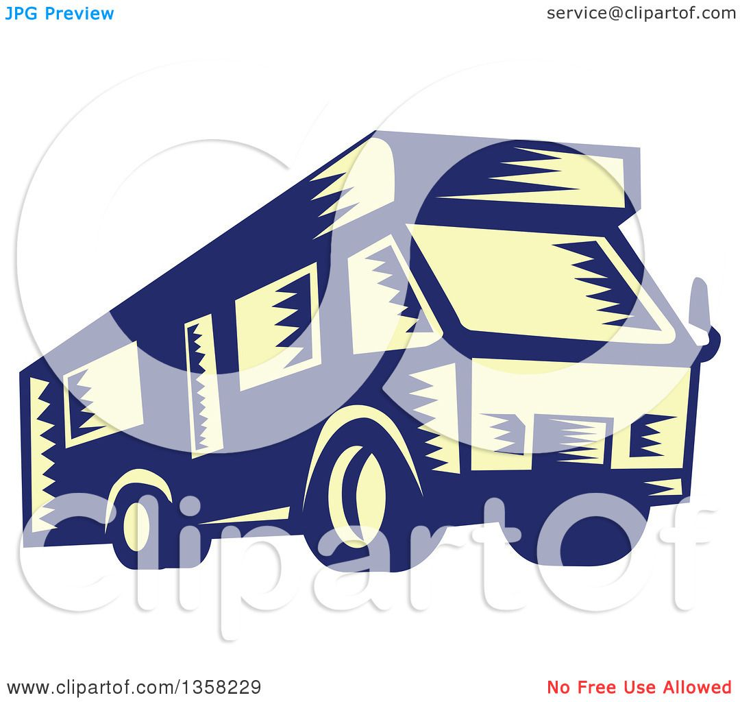Clipart Of A Retro Woodcut Yellow And Blue Rv Camper Van