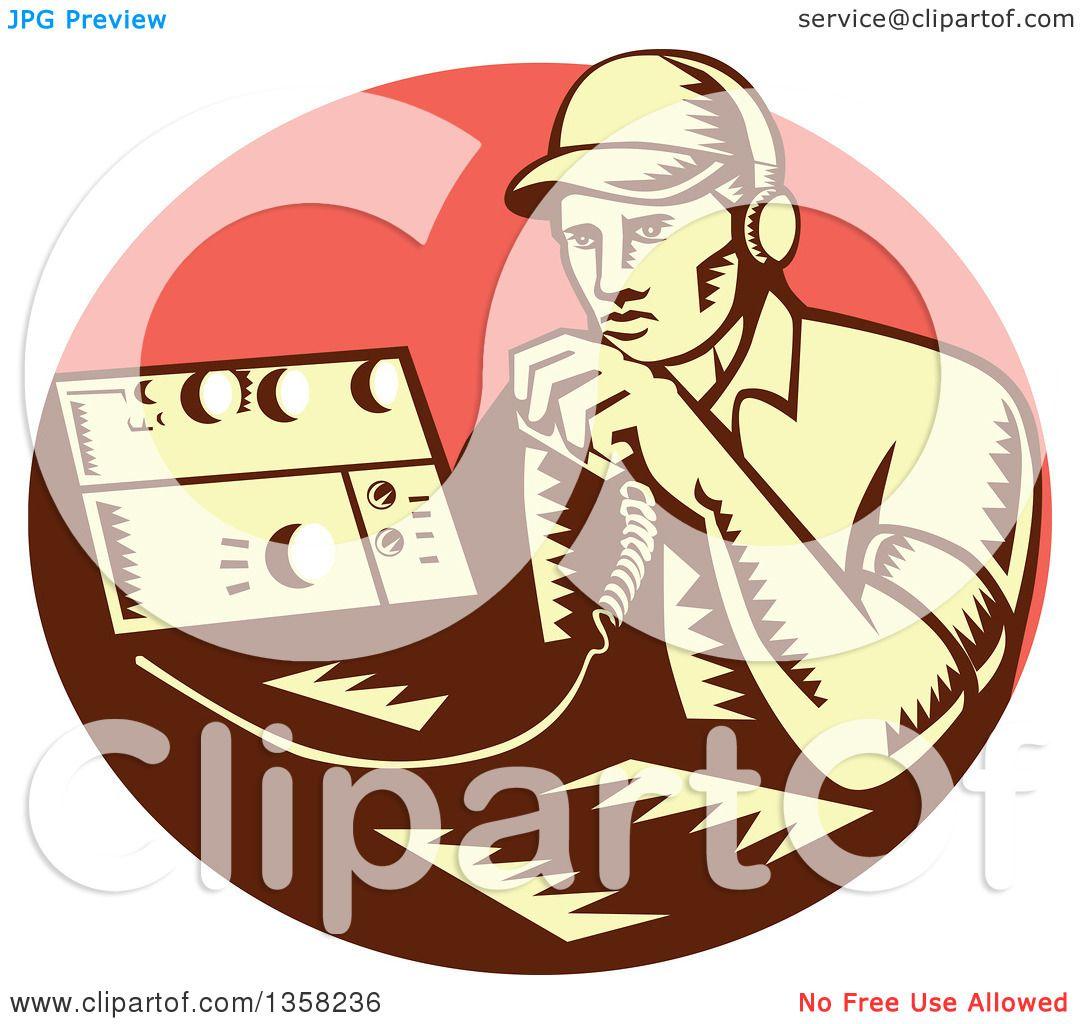 clipart of a retro woodcut yellow and brown male ham radio operator rh clipartof com ham radio clipart images ham radio clip art fonts