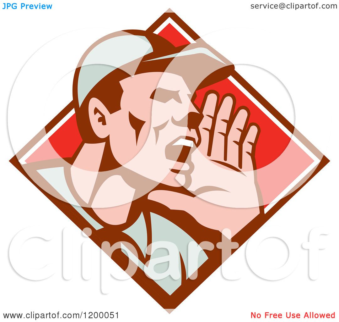 clipart of a retro worker holding up his hand and shouting in a