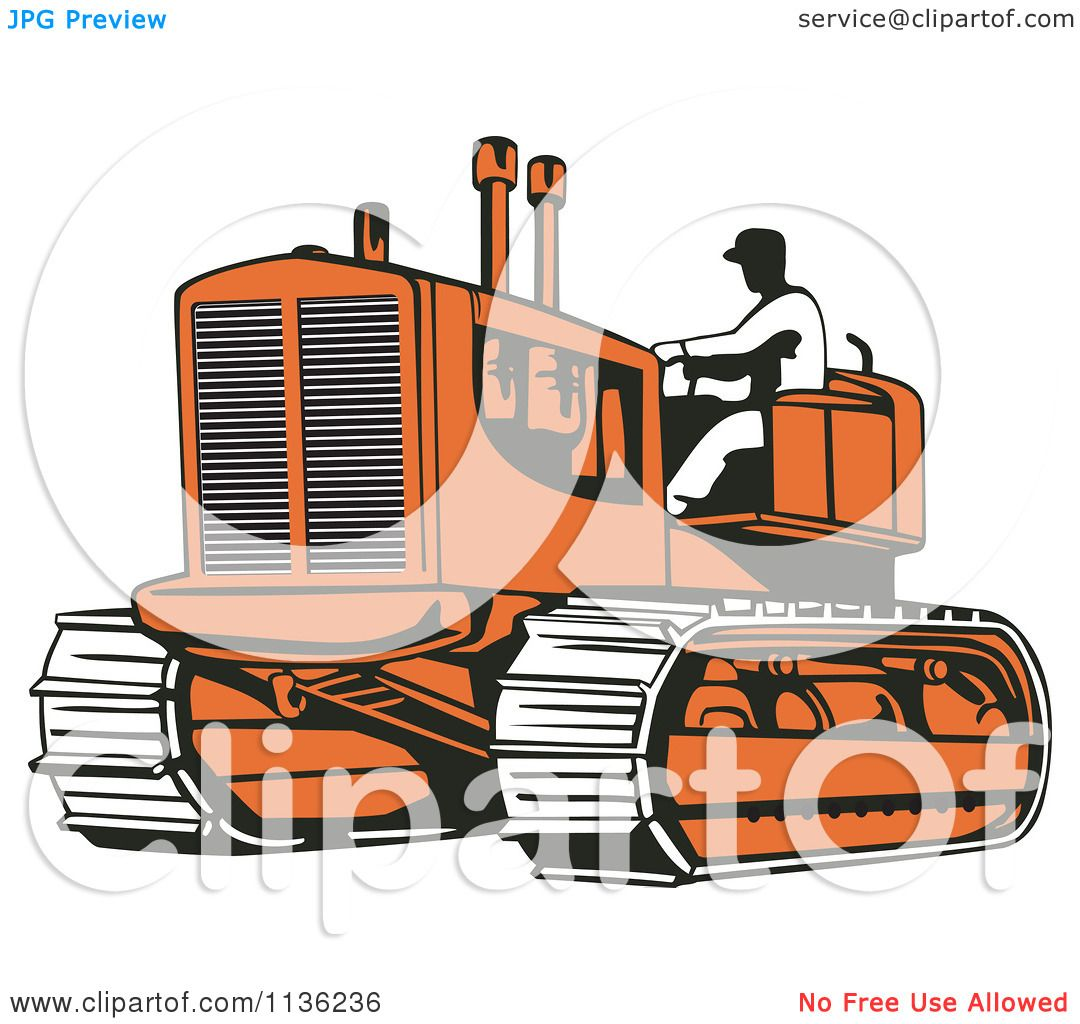clipart of a retro worker operating bulldozer machine 2 royalty free vector illustration by. Black Bedroom Furniture Sets. Home Design Ideas