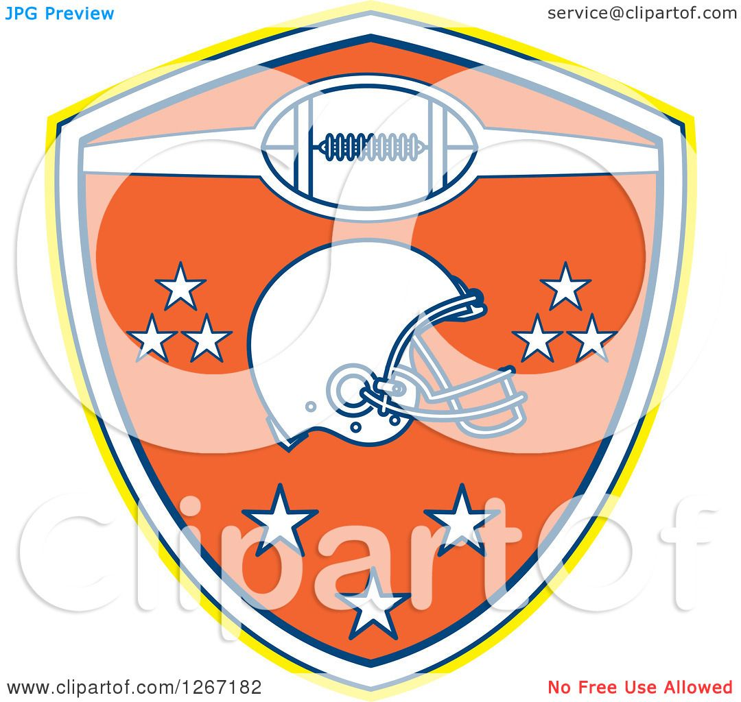 64998a02959 Clipart of a Retro Yellow White Blue and Orange American Football Shield  with a Helmet and