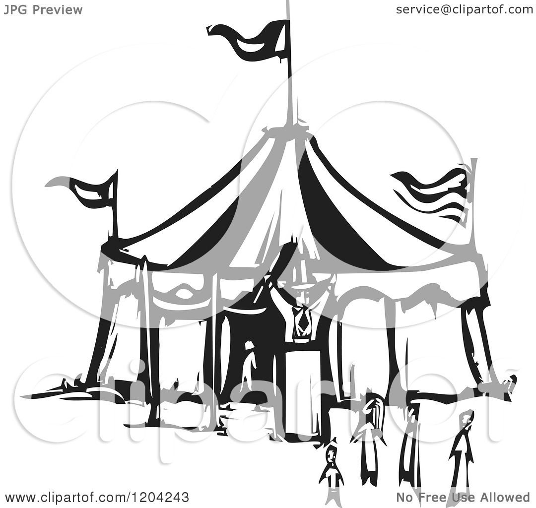 tent clipart black and white. clipart of a ringmaster people and circus tent black white woodcut royalty free vector illustration by xunantunich