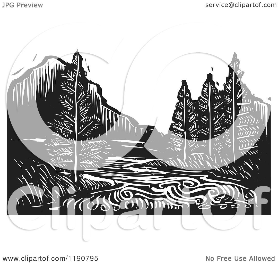Landscape Illustration Vector Free: Clipart Of A River Mountain And Evergreen Landscape Black