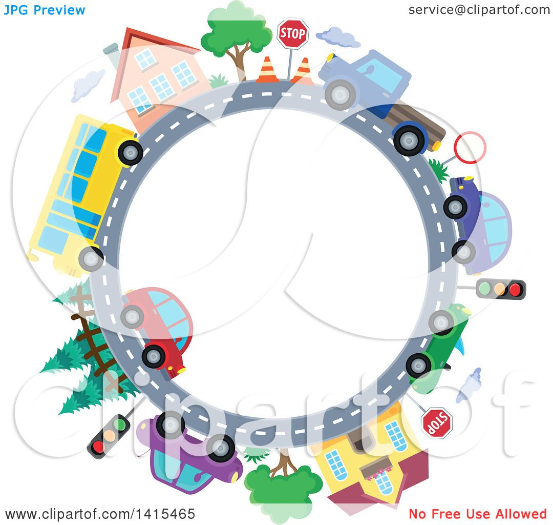 Clipart Of A Road Circle With A Bus Homes And Cars Royalty Free