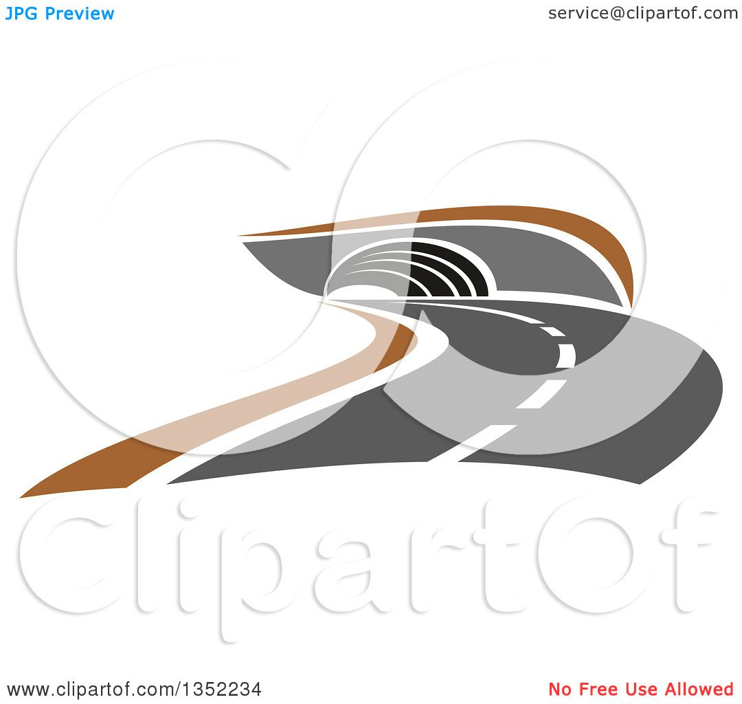Clipart of a Road Leading to a Tunnel - Royalty Free Vector ...