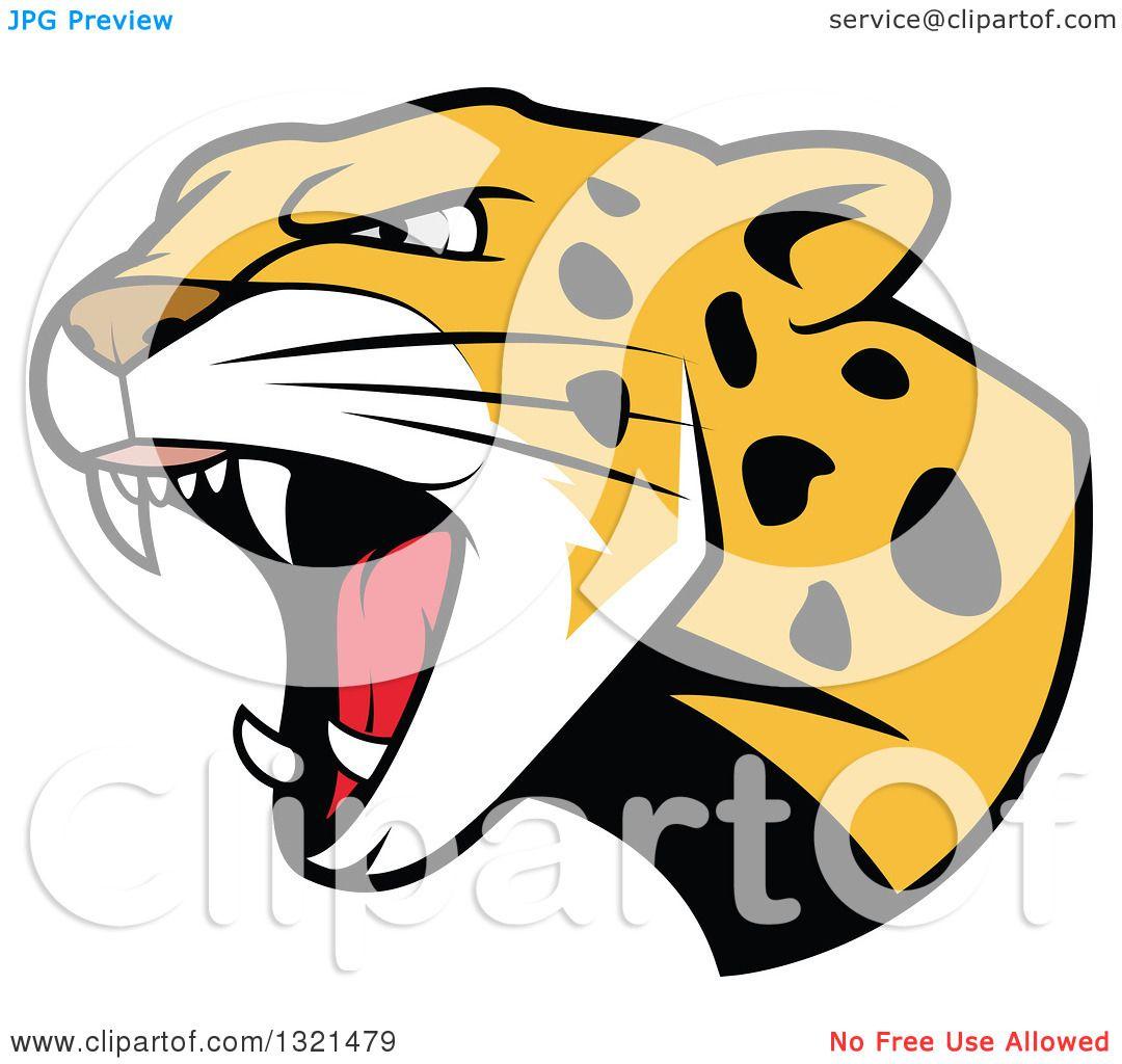 clipart of a roaring angry jaguar or leopard big cat head royalty rh clipartof com free jaguar mascot clipart