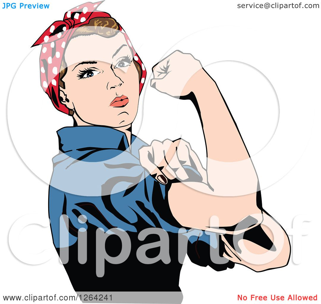 clipart of a rosie the riveter flexing and facing right