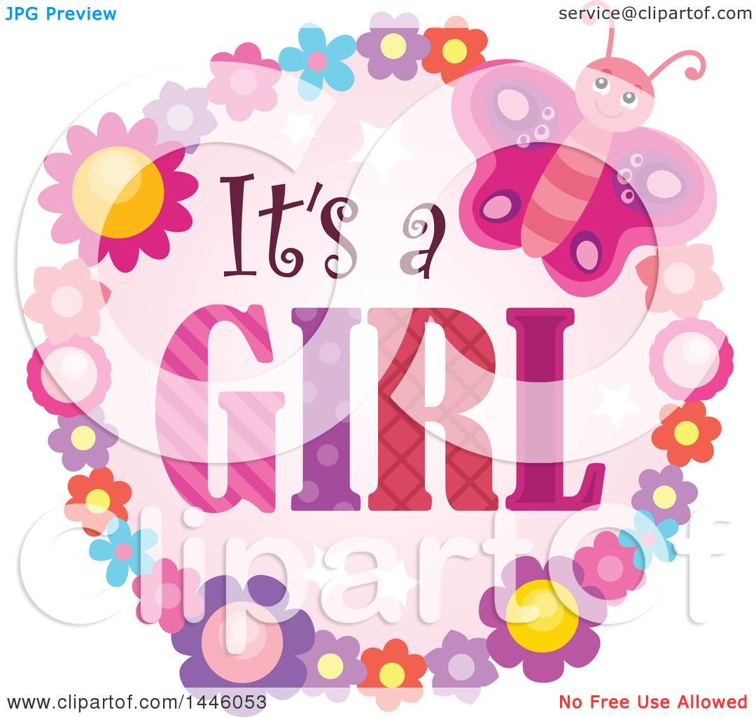 Clipart of a Round Flower and Butterfly Frame Around Gender Reveal ...