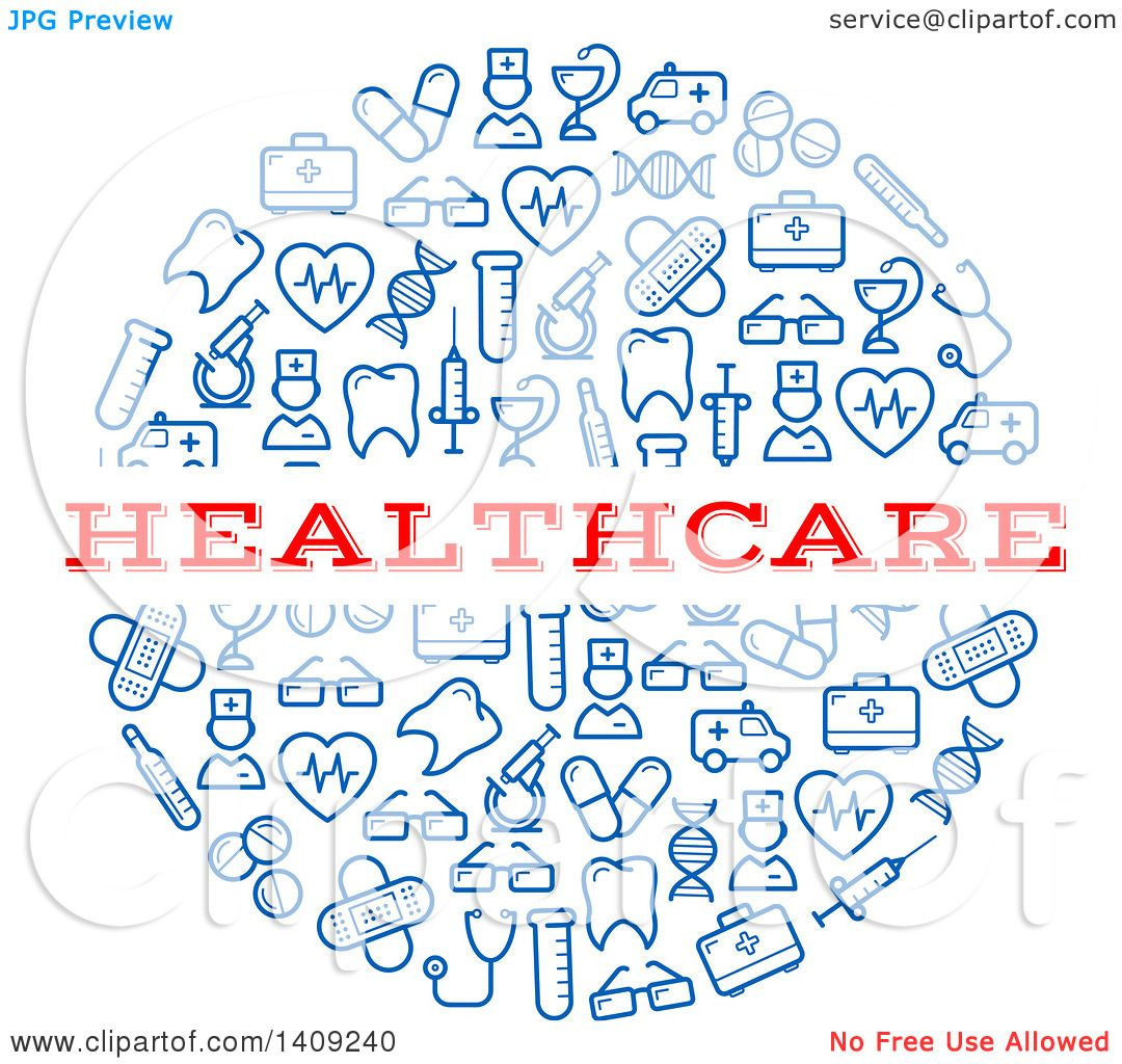 Clipart of a Round Pill Formed of Blue Icons, with Healthcare Text ...